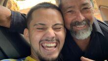 Pai Idelfonso de Matos com o filho Gustavo Vinicíus