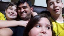 Magno Valente e seus filhos Uheá, Ian e Náthali